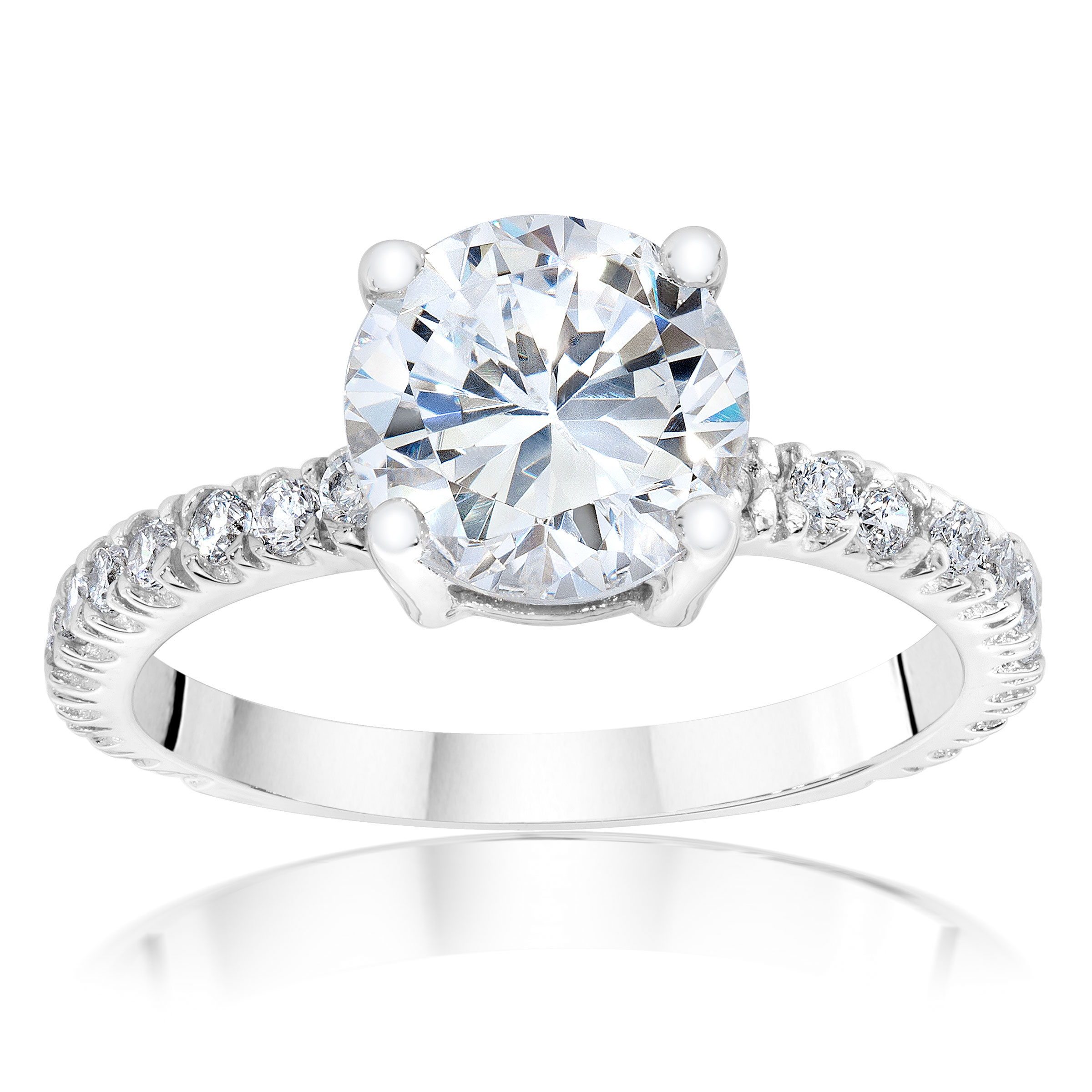 Round Solitaire Pave Ring